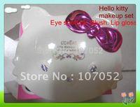 Free shipping NEW Fashion Makeup set cute HELLOKITTY Mineral 10Eye shadow+3blush+3lip gloss + tools/family stylish cosmetic case