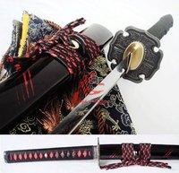battle ready clay tempered japan samurai katana cherry blossom tsuba flamy hamon