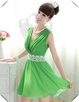 free shipping fashion dress  chiffon lace sleeveless dress vest dress