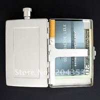 2oz Stainless Steel Hip Flask & Cigarette Case Combination,flask and wallet