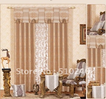 high quality customized linen feel jacquard ready made livingroom door window drapery rod pleated blackout curtain