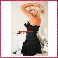 prom dresses 2012 Satin Black Corset Dress with Mini Skirt Bustier+G-String+Brooch Sexy Lingerie