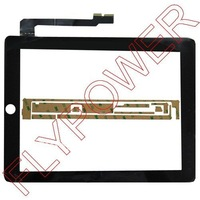 For ipad 3 ipad 4 touch screen digitizer black with free 3M sticker by free DHL, UPS or EMS; 100% new; 10pcs/lot