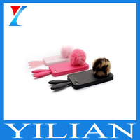DHL Free shipping 100pcs silicon Rabito Case for iPhone 4 /4S villus ball wholesale