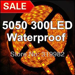 Free shipping, 5M SMD 5050 Flexible Led Strip Yellow /Orange Waterproof 60Leds/M 5M 300Led/roll, 12V SMD 5050 led lighting