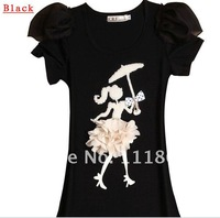 Spring and summer new handmade beaded Korean Chiffon Puff Sleeve Slim short sleeve t -shirt