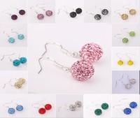 Fashion Jewelry Platinum Plated Shamballa Earring Drop 10MM Rhinestone Ball White Gold Drop Earring