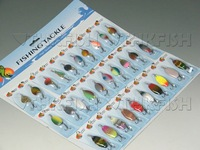 Promotion! Lot of 60pcs Pack (1set=30pcs) Spinner Spoon Assorted Fishing Lures On Card Baits