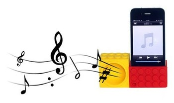 EMS DHL Freeshipping 10pcs/lot Wholesale Silicone Blocks Horn Stand Amplifier Speaker for iphone 4 4s With Package