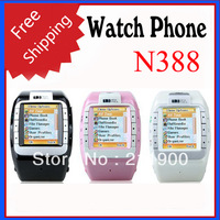 Free Shipping N388 Quad Band Cell Phone Watch with Bluetoth MP3 MP4 Player