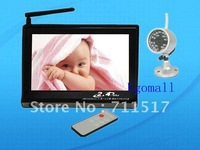 Freeshipping 7 Inch 2.4GHz TFT LCD Wireless Digital Voice Control Baby Monitor with Night Vision AV OUT US Plug  Dropshipping