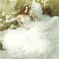 Fashion boutique luxurious French lace royal princess flowers trailing wedding dress