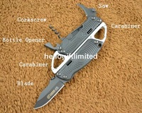 SR 278 Camping Multi Tool Pocket EDC Folding Knife 4 in 1 Toolkit Blade &amp; Bottle Opener &amp; Corkscrew &amp; Saw