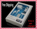 Freeshipping 5 in 1  Kit Charger For iphone 4S 4G 3GS, Car Charger+Data Charger+Earphone+Audio Splitter+Wall Charger, 5Sets/lot