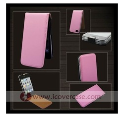 Pink Mobile Phone Genuine Leather Pouch for iPhone 4 4S 50pcs/lot + free shipping(China (Mainland))