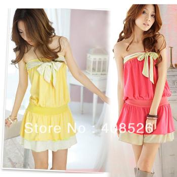 Fashion Korea Women's Girls Strapless Cute Bowknot Design Mini Dress one size Red, Yellow free shipping 5105
