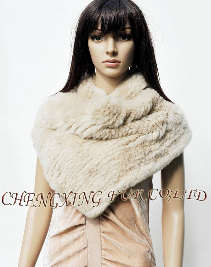 CX-S-106C Hand Knitted Rex Rabbit Fur Snood Circular Scarf ~ DROP SHIPPING(China (Mainland))