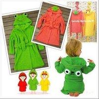 HOT!! Children's cartoon bathrobes baby boy/girl bathrobes animal cloak towels Long-sleeved cotton bath skirt 5pcs/lot