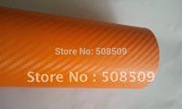 Orange 3D Carbon Fiber Vinyl Film Twill Weave Texture Glue with Release Air Drains Wrap orange0001