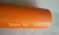 Orange 3D Carbon Fiber Vinyl Film Twill Weave Texture Glue with Release Air Drains Wrap orange0001