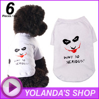 "WHOLESALE !!! MATA VERN Fashion Pet T-shirt ""Clown""   Designer dog clothes  Free Shipping!"
