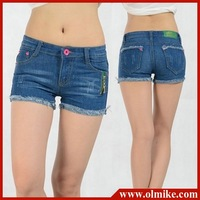 wholesale price ladies' 2012 new fashion brand frayed denim shorts washed cotton short  pants jeans trousers free shipping WJ005