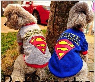 cute superman design dogs t shirt outdoor puppy cat sports jersey pet summer apparels blue gray SZ XS to XL