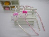Hot wholesale,Hello Kitty+red/pink+20pcs/lot,girl princess pearl hair clips,babys fashion headband,kids head band