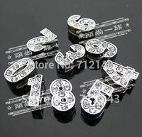 Wholesale 100pcs/lot 8mm 0-9 number slide charm