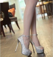Free Shipping Women 2012 New Designer Sexy Fashion High Heel Platform Sequined Cloth Shoes/Ladies Shoes Size:35-39 L168