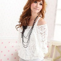 Korea 2PCS Casual Batwing Sleeve Lace Blouses Women's Off Shoulder T-Shirt , Free Shipping 5108