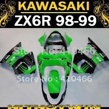 EMS free shipping Fairing kit for KAWASAKI Ninja ZX-6R 98-99 ZX6R ZX 6R 98 99 1998 1999 Green black Motorcycle Fairings KL05