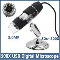 500X Digital Microscope USB 8 LED Endoscope Magnifier Camera 2.0MP Promotion Free shipping