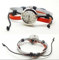 Retro fashion watch,with white and orange leather bracelet +free shipping