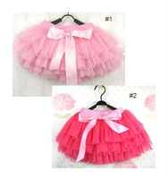 Baby Tutus Skirt Christmas Pettiskirts Girls Dance Tutu Dress w. Ribbon Bow-Tie 6 Layers High Quality 100% Cotton Free Shipping