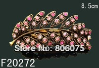Wholesale Women's vintage zinc alloy rhinestone flowers hair clip Hair Accessories Free shipping 12pcs lot mixed color  F20272