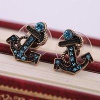 Vintage Blue Rinestone Ship Anchor Earrings For Women C9R7