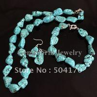 Wholesale Turquoise Jewelry Set  Turquoise Neckalace+Bracelet+Earrings Set Irregular Turquoise Beads Costume Jewelry TN027
