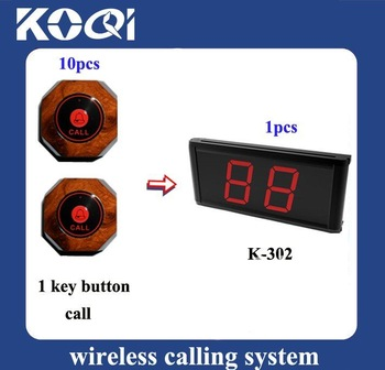 DHL/EMS Free Shipping China Cheapest Restaurant Wireless Call Bell System < 1 receiver + 10pcs button Easy Install >