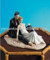 2014 new lovely beach theme wedding couple cake toppers free shipping