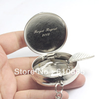 36pcs/lot Mini Ashtray Portable Metal Ashtray With keychain Stainless steel Round Ashtrays