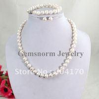 Wholesale 3sets/lot White Pearl Set Shiny Freshwater7-8MM Freshwater Pearl Necklace/Bracelet/Stud Earrings Jewelry Set FP276