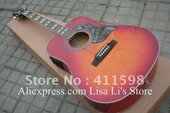 Wholesales Hummingbird cherry sunburst acoustic guitar with Fishman presys blend Pickups acoustic electric guitar