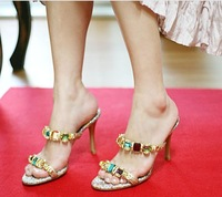 2012 night club popular style,woman gemstone high heeled sandals,lady's shining noble summer shoes,slippers,pumps