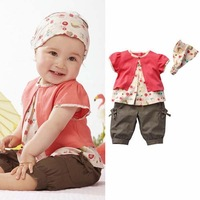 2012 New summer kids clothing suits,children clothes 3 pcs set(1 t shirt+1 pant+1 headwear),80cm 90cm 100cm,5 set/lot