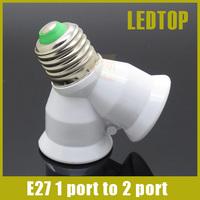 E27 screw Base Light Lamp Bulb Socket LED Halogen CFL 1 to 2 Split Splitter Adapter Converter , e27 to 2 e27