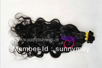 Natural Color curly  Malaysian Virgin Hair Hand Tied Weft
