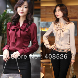2012 NEW Korea Women's Ladies bowtie OL shirt Long Sleeve Vintage ShirtsTops blouse 3 Colours New free shipping 3847(China (Mainland))
