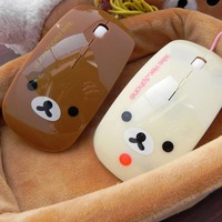FREE SHIPPING!!! Lovely cartoon relaxed bear 3D wireless optical mouse, USB plug, the two lovers of the mouse