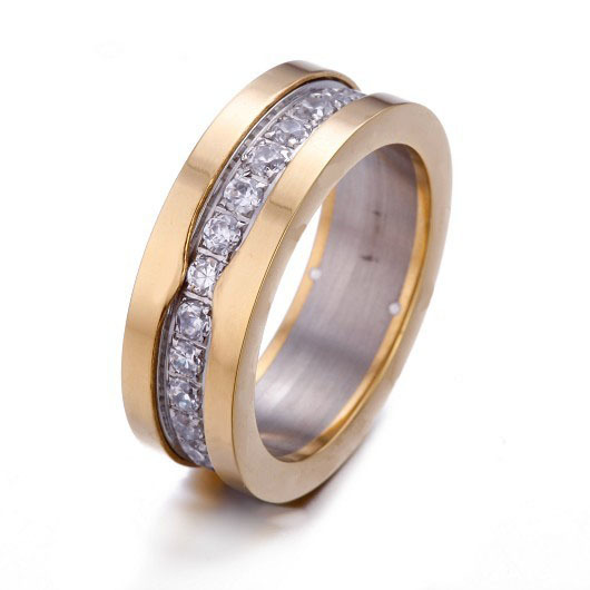 Gorgeous 18kt Yellow Gold Wedding Ring With Pave Zircons.Brillint Band Ring For Beautiful Womens.There Always A Ring Suit You(China (Mainland))